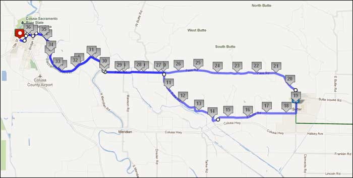 Mile FUN Bike Ride Colusa CA - Map my bike